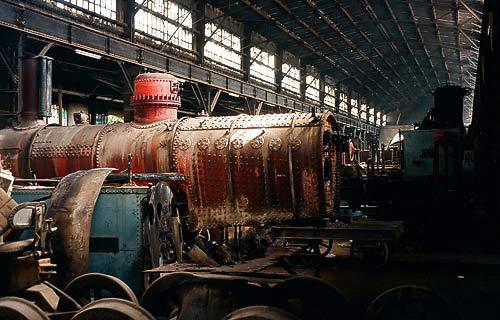 Die Halle des Bahnausbesserungswerkes Damaskus-Kaddam