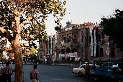 Strassenseite des Hedjaz-Bahnhofs im Zentrum Damaskus