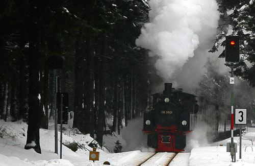 Stampfen durch den Winterwald kurz vor Schierke am Brocken.