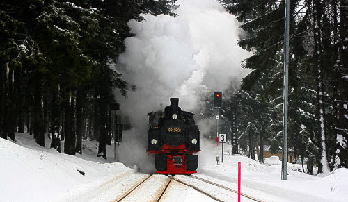Dampfzug mit Mallet-Lokomotive auf dem Weg zum Brockengipfel.