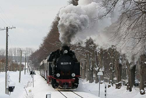 99 2331 mit dem Molli-Zug an der Doberaner Rennbahn.