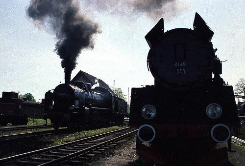Polnische Dampflokomotiven warten auf ihren Einsatz