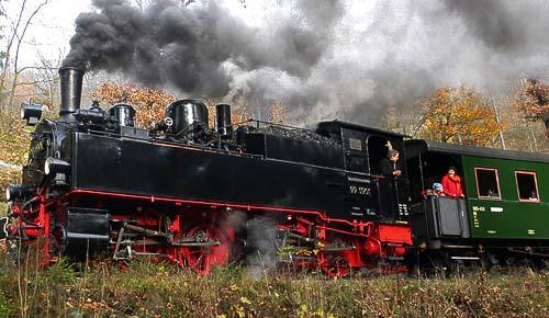 Die Malletlok 99 5901 ist mit einem Sonderzug im Selketal unterwegs