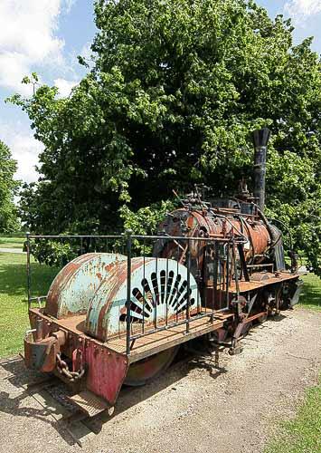 Rückansicht der Dampflokomotive bei Aalholm in Dänemark