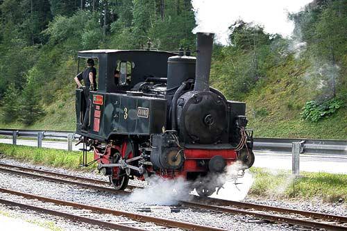 Rangierfahrt der Dampflok No. 3 'Georg' in Seespitz am Achensee