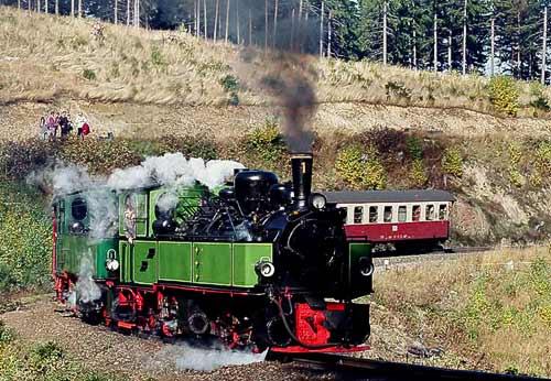 Sonderzug mit zwei Mallet-Lokomotiven kurz vor Drei Annen Hohne