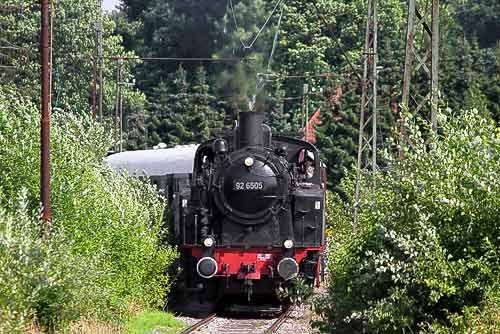 Einfahrt in den Bahnhof Barntrup zum Wassernehmen