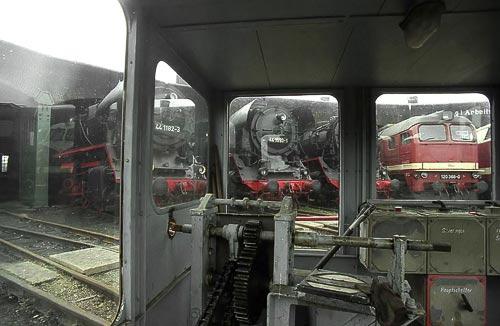 Mimik im Drehscheiben-Häuschen - Traditionsbahnbetriebswerk Stassfurt
