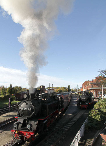 Mit Volldampf beginnt die Dampfzugfahrt in Kühlungsborn-West